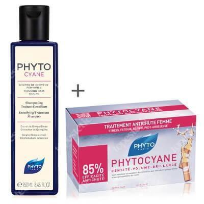 Phyto Phytocyane Set ZESTAW Szampon wzmacniający włosy 250 ml + Rewitalizujące ampułki przeciw wypadaniu włosów dla kobiet 12x7,5 ml