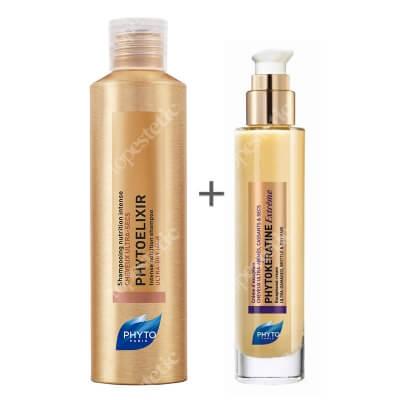 Phyto Phytokeratine Extreme Cream + Phytoelixir Shampoo ZESTAW Keratynowy krem odbudowujący 100 ml + Szampon intensywnie odżywczy 200 ml