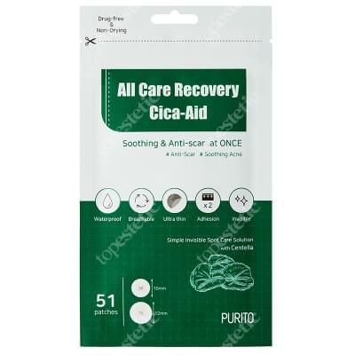 Purito All Care Recovery Cica - Aid Plastry do stosowania punktowo na stany zapalne i do pielęgnacji blizn 51 szt