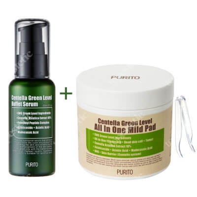 Purito Centella Green Level All In One Mild Pad + Centella Green Level Buffet Serum ZESTAW Oczyszczające waciki 70 szt. + Odżywcze serum do twarzy 60 ml
