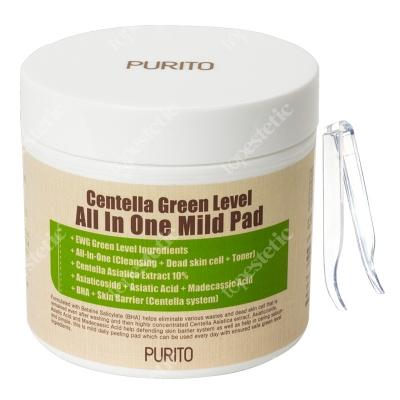 Purito Centella Green Level All In One Mild Pad Oczyszczające waciki z wyciągiem Wąkrotki Azjatyckiej 70 szt.