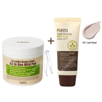 Purito Centella Green Level All In One Mild Pad + Snail Clearing BB Cream Light Beige ZESTAW Oczyszczające waciki z wyciągiem Wąkrotki Azjatyckiej 70 szt. + Krem BB z wyciągiem ze śluzu ślimaka (odcień 21 Jasny beż) 30 ml