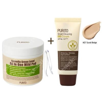 Purito Centella Green Level All In One Mild Pad + Snail Clearing BB Cream Sand Beige ZESTAW Oczyszczające waciki z wyciągiem Wąkrotki Azjatyckiej 70 szt. + Krem BB z wyciągiem ze śluzu ślimaka (odcień 27 Piaskowy beż) 30 ml