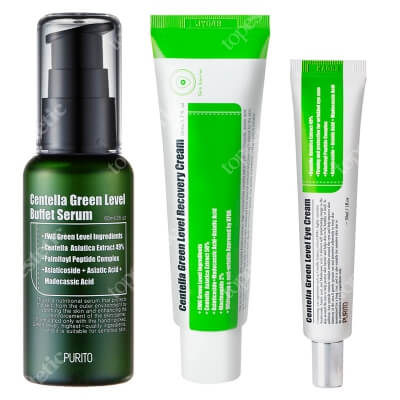 Purito Centella Green Level Set ZESTAW Serum do twarzy 60 ml + Krem do twarzy 50 ml + Krem pod oczy 30 ml