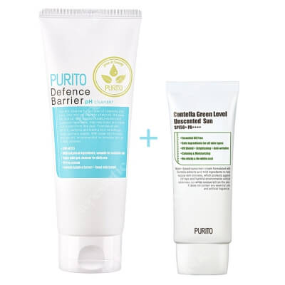 Purito Centella Green Level Uscented Sun SPF 50 + PA ++++ + Defence Barrier PH Cleanser ZESTAW Bezzapachowy krem przeciwsłoneczny 60 ml + Żel oczyszczający o działaniu ochronnym 150 ml