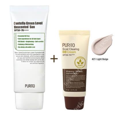 Purito Centella Green Sun SPF 50 + PA ++++ & Snail Clearing BB Cream ZESTAW Krem przeciwsłoneczny 60 ml + Krem BB (21 Jasny beż) 30 ml