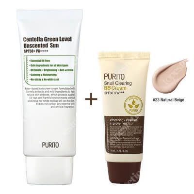 Purito Centella Green Sun SPF 50 + PA ++++ &Snail Clearing BB Cream ZESTAW Krem przeciwsłoneczny 60 ml + Krem BB (23 Naturalny beż) 30 ml
