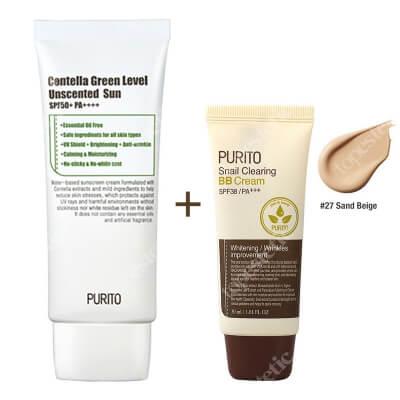 Purito Centella Green Sun SPF 50 + PA ++++ & Snail Clearing BB Cream ZESTAW Krem przeciwsłoneczny 60 ml + Krem BB ( 27 Piaskowy beż) 30 ml
