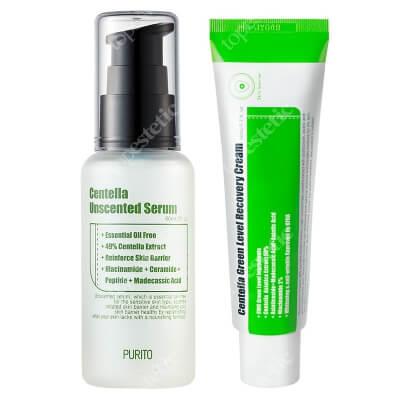 Purito Centella Unscented Serum + Centella Green Level Recovery Cream ZESTAW Bezzapachowe serum na bazie wyciągu z wąkroty azjatyckiej 60 ml + Regenerujący krem z Wąkrotki Azjatyckiej 50 ml