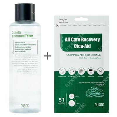 Purito Centella Toner + All Care Recovery Cica ZESTAW Bezzapachowy toner 200 ml + Plastry do stosowania punktowo na stany zapalne i do pielęgnacji blizn 51 szt