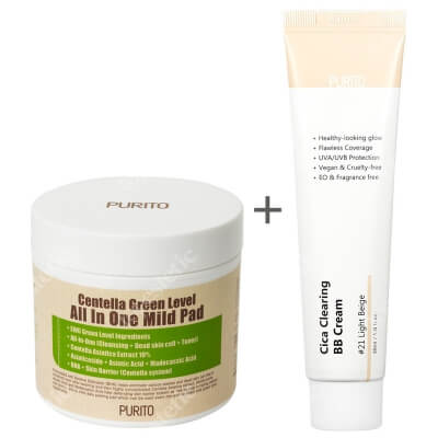 Purito Cica Clearing BB Cream + Centella Green Level All In One Mild Pad ZESTAW Krem BB cica ( odcien 21 Jasny beż ) 30 ml + Oczyszczające waciki z wyciągiem Wąkrotki Azjatyckiej 70 szt.
