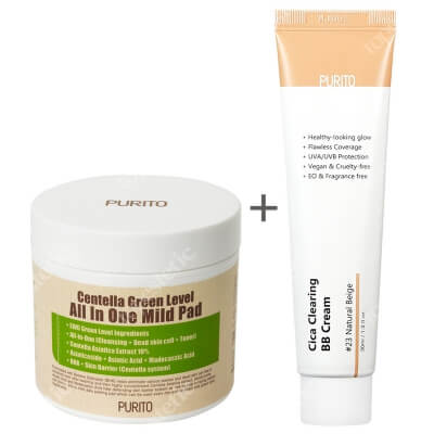 Purito Cica Clearing BB Cream + Centella Green Level All In One Mild Pad ZESTAW Krem BB cica ( odcien 23 Naturalny beż ) 30 ml + Oczyszczające waciki z wyciągiem Wąkrotki Azjatyckiej 70 szt.