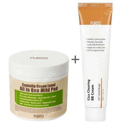 Purito Cica Clearing BB Cream + Centella Green Level All In One Mild Pad ZESTAW Krem BB cica ( odcien 27 Piaskowy beż ) 30 ml + Oczyszczające waciki z wyciągiem Wąkrotki Azjatyckiej 70 szt.