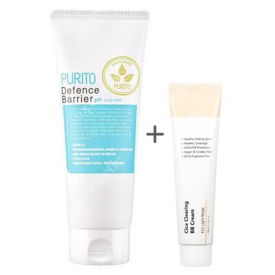 Purito Cica Clearing BB Cream + Defence Barrier PH Cleanser ZESTAW Krem BB cica ( odcien 21 Jasny beż ) 30 ml + Żel oczyszczający o działaniu ochronnym 150 ml