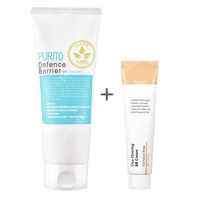 Purito Cica Clearing BB Cream + Defence Barrier PH Cleanser ZESTAW Krem BB cica ( odcien 23 Naturalny beż ) 30 ml + Żel oczyszczający o działaniu ochronnym 150 ml