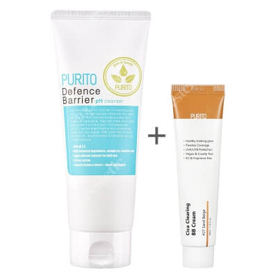 Purito Cica Clearing BB Cream + Defence Barrier PH Cleanser ZESTAW Krem BB cica ( odcien 27 Piaskowy beż ) 30 ml + Żel oczyszczający o działaniu ochronnym 150 ml
