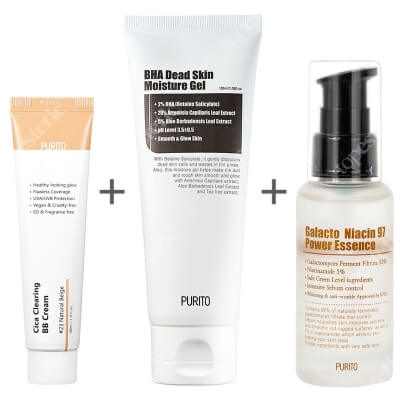 Purito Cica Clearing BB Cream + Galacto Niacin 97 Power Essence + BHA Dead Skin Moisture Gel ZESTAW Krem BB cica ( odcien 23 Naturalny beż ) 30 ml + Odżywcza esencja na bazie niacyny (wit b3) 60 ml + Nawilżający żel złuszczający 100 m