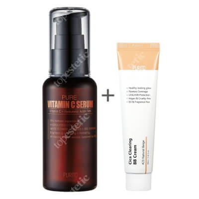 Purito Cica Clearing BB Cream + Pure Vitamin C Serum ZESTAW Krem BB cica ( odcien 23 Naturalny beż ) 30 ml + Przeciwzmarszczkowe serum z witaminą C 60 ml