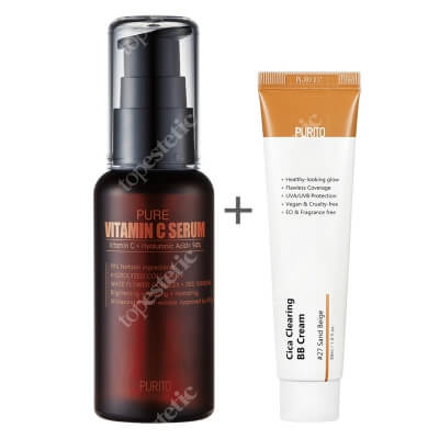 Purito Cica Clearing BB Cream + Pure Vitamin C Serum ZESTAW Krem BB cica ( odcien 27 Piaskowy beż ) 30 ml + Przeciwzmarszczkowe serum z witaminą C 60 ml