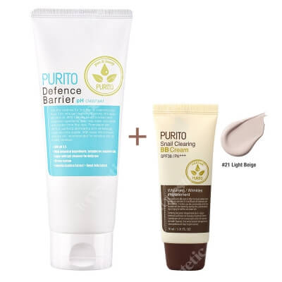 Purito Defence Barrier PH Cleanser + Snail Clearing BB Cream Light Beige ZESTAW Żel oczyszczający o działaniu ochronnym 150 ml + Krem BB z wyciągiem ze śluzu ślimaka (odcień 21 Jasny beż) 30 ml