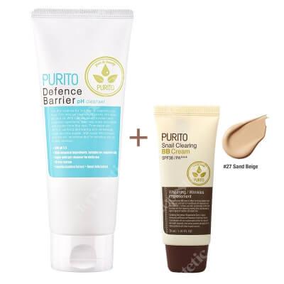 Purito Defence Barrier PH Cleanser + Snail Clearing BB Cream Sand Beige ZESTAW Żel oczyszczający o działaniu ochronnym 150 ml + Krem BB z wyciągiem ze śluzu ślimaka (odcień 27 Piaskowy beż) 30 ml