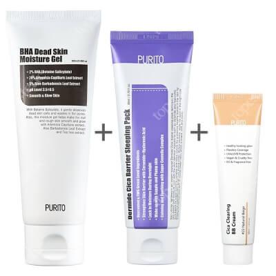 Purito Dermide Cica BarrierSleeping Pack + Cica Clearing BB Cream + BHA Dead Skin Moisture Gel ZESTAW Krem na noc 80 ml + BB (23Naturalny beż) 30 ml + Żel 100 ml