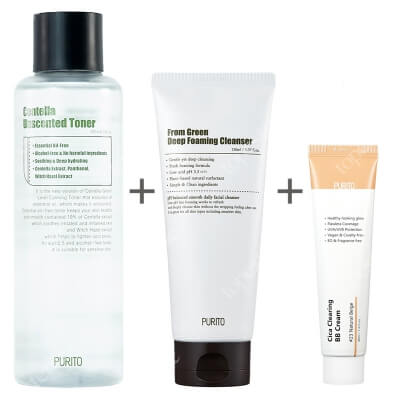 Purito Foaming Cleanser + Centella Unscented Toner + Cica Clearing BB Cream ZESTAW Pianka 150 ml + Toner z wąkrotką azjatycką 200 ml + Krem BB ( 23 Nat. beż ) 30 ml