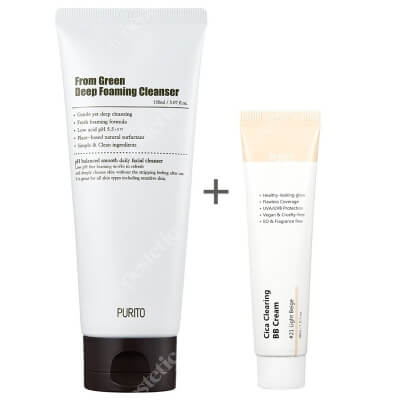 Purito From Green Deep Foaming Cleanser + Cica Clearing BB Cream ZESTAW Dogłębnie oczyszczająca pianka myjąca 150 ml + Krem BB cica ( odcien 21 Jasny beż ) 30 ml