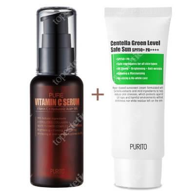 Purito Pure Vitamin C Serum + Centella Green Level Safe Sun SPF 50+ PA++++ ZESTAW Przeciwzmarszczkowe serum z witaminąC 60 ml + Ochronny krem przeciwsłoneczny 60 ml