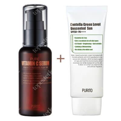 Purito Pure Vitamin C Serum + Centella Green Level Uscented Sun SPF 50 + PA ++++ ZESTAW Przeciwzmarszczkowe serum z witaminąC 60 ml + Bezzapachowy krem przeciwsłoneczny 60 ml