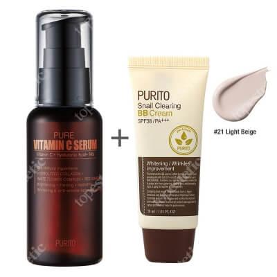 Purito Pure Vitamin C Serum + Snail Clearing BB Cream Light Beige ZESTAW Przeciwzmarszczkowe serum z witaminąC 60 ml + Krem BB z wyciągiem ze śluzu ślimaka (odcień 21 Jasny beż) 30 ml