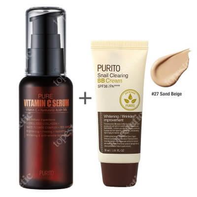 Purito Pure Vitamin C Serum + Snail Clearing BB Cream Sand Beige ZESTAW Przeciwzmarszczkowe serum z witaminąC 60 ml + Krem BB z wyciągiem ze śluzu ślimaka (odcień 27 Piaskowy beż) 30 ml