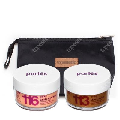 Purles 113 Exotic Scrub + 116 Exotic Smoothie ZESTAW Egzotyczny peeling solny 160 ml + Egzotyczny krem do ciała 160 ml + Kosmetyczka