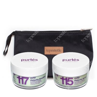 Purles 115 Pistachio Scrub + 117 Pistachio Smoothie ZESTAW Kremowy peeling pistacjowy 160 ml + Pistacjowy krem do ciała 160 ml + Kosmetyczka