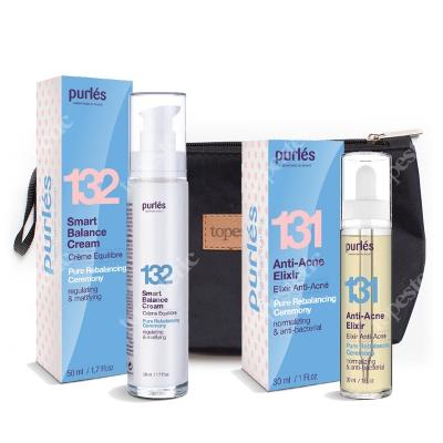 Purles 131 Anti-Acne Elixir + 132 Smart Balance Cream ZESTAW Elixir przeciwtrądzikowy 30 ml + Krem balansujący 50 ml + Kosmetyczka