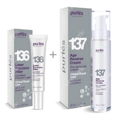 Purles 136 Laser Precision Filler + 137 Age Reverse Cream ZESTAW Precyzyjny wypełniacz zmarszczek 15 ml + Naprawczy krem odmładzający 50 ml + Kosmetyczka