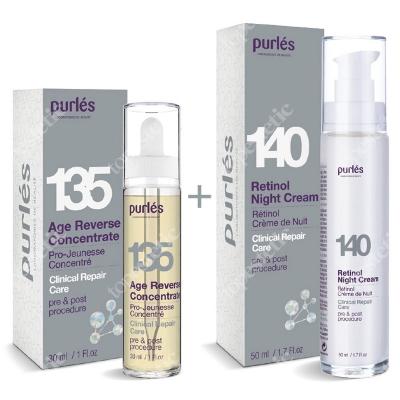 Purles 140 Retinol Night Cream 0,5% + 135 Age Reverse Concentrate ZESTAW Krem z retinolem na noc 0,5% 50 ml + Naprawczy koncentrat młodości 30 ml