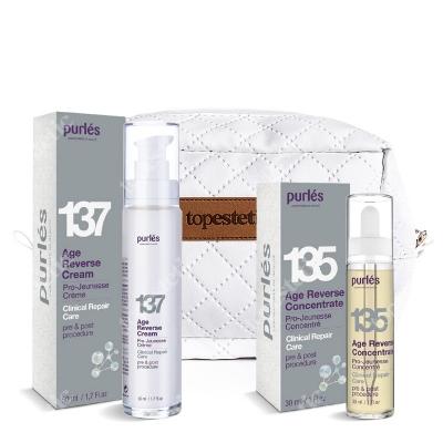 Purles Age Reverse 135 + 137 ZESTAW Naprawczy koncentrat młodości 30 ml + Naprawczy krem odmładzający 50 ml + Kosmetyczka