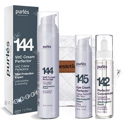 Purles Perfector Set ZESTAW Krem do twarzy 50 ml + Krem pod oczy 30 ml + Koncentrat 30 ml + Kosmetyczka