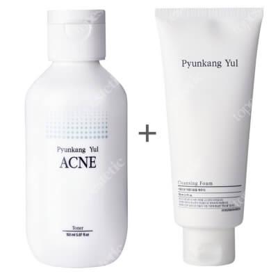 Pyunkang Yul Cleansing Foam + ACNE Toner ZESTAW Oczyszczająca pianka do twarzy 150 ml + Przeciwtrądzikowy, oczyszczający toner do twarzy 150 ml