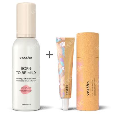 Resibo Born To Be Mild Soothing Prebiotic Cleanser + Your Light Moisturizer ZESTAW Łagodząca emulsja myjąca 150 ml + Lekki krem nawilżający 50 ml