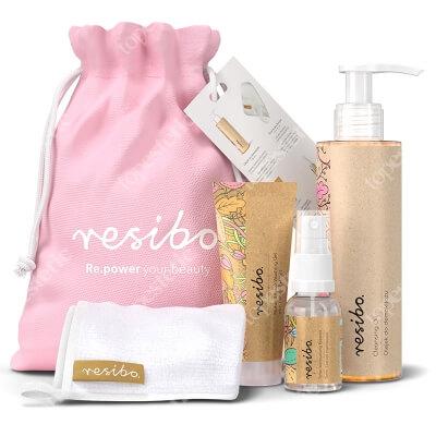 Resibo Clean Skin Bag 2020 ZESTAW Olejek do demakijażu 150 ml + Żel myjący do twarzy 30 ml + Tonik nawilżający 15 ml + Ściereczka 1 szt