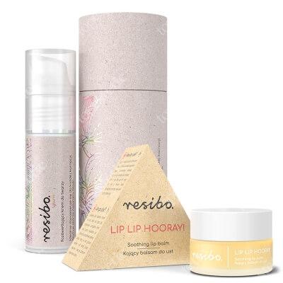 Resibo Lip Lip Hooray + Glow - Illuminating Day Cream ZESTAW Kojący balsam do ust 7 ml + Rozświetlający krem do twarzy 30 ml
