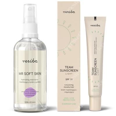 Resibo Mr Soft Skin + Team Sunscreen Balancing Moisturizer Cream ZESTAW Nawilżający tonik - mgiełka 100 ml + Krem nawilżająco-regulujący SPF 30 40 ml