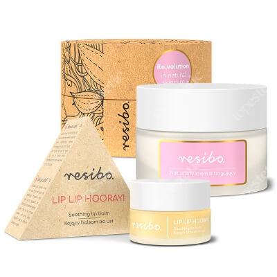 Resibo Natural Lifting Cream + Lip Lip Hooray ZESTAW Naturalny krem liftingujący 50 ml + Kojący balsam do ust 7 ml