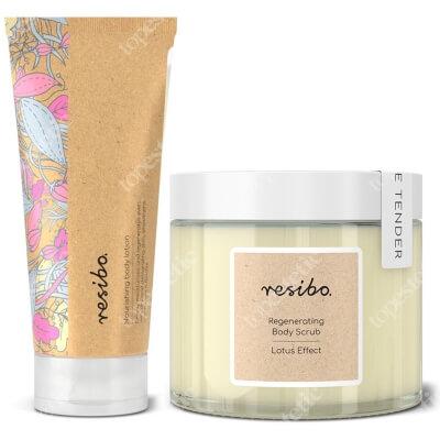 Resibo Regenerating Body Scrub Lotus Effect + Nourishing Body Lotion ZESTAW Regenerujący peeling do ciała 300 g + Odżywczy balsam do ciała 200 ml