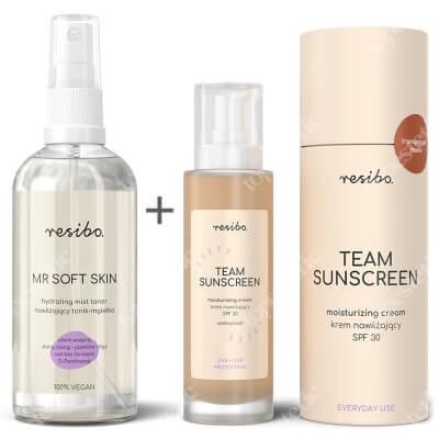 Resibo Team Sunscreen + Mr Soft Skin ZESTAW Krem nawilżający SPF30 50 ml + Nawilżający tonik - mgiełka 100 ml