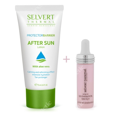 Selvert Thermal After Sun Lotion + Active Regenerator With Snail Protein Extract ZESTAW Balsam po opalaniu 75 ml + Koncentrat regenerujący z ekstraktem wydzieliny ślimaka 5 ml