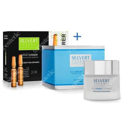 Selvert Thermal Moisturizing Cream + ForteDay & Night Dna Repairer ZESTAW Krem mocno nawilżający 50 ml + Naprawa DNA komórek w dzień i nocą (ampułki) 10x2 ml