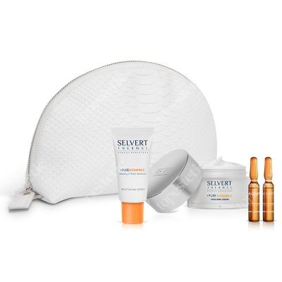 Selvert Thermal Pure Vitamin-C Set ZESTAW Krem 50 ml + Serum 30 ml + Koncentrat przeciwstarzeniowy (ampułki) 2x2 ml + Kosmetyczka